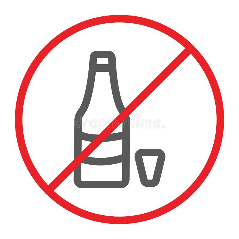 Ninguna línea icono, prohibido y prohibición del alcohol, ninguna muestra de la bebida, gráficos de vector, un modelo linear en u stock de ilustración