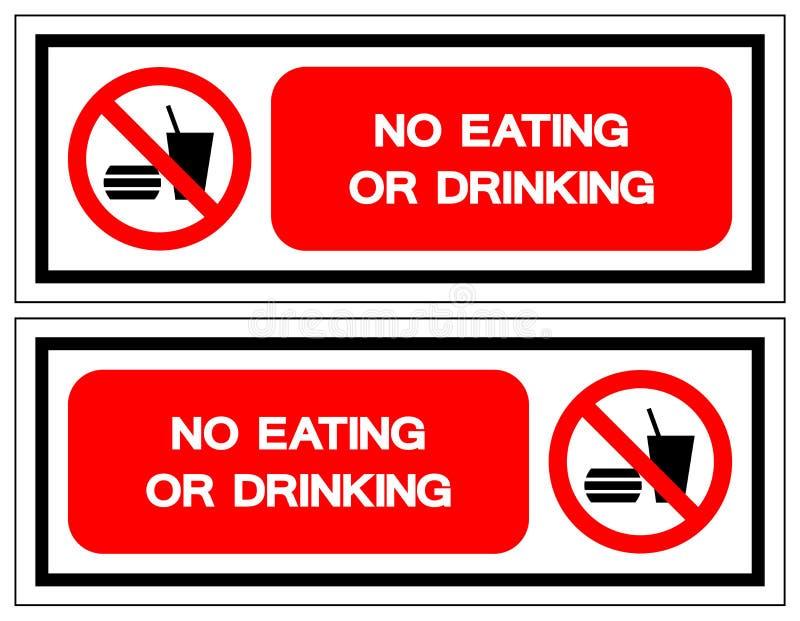 Ninguna muestra de consumición o de consumición del símbolo, ejemplo del vector, aislante en la etiqueta blanca del fondo EPS10 stock de ilustración