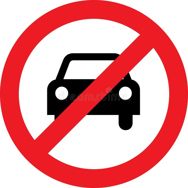 Ninguna muestra del coche o del estacionamiento prohibido ilustración del vector