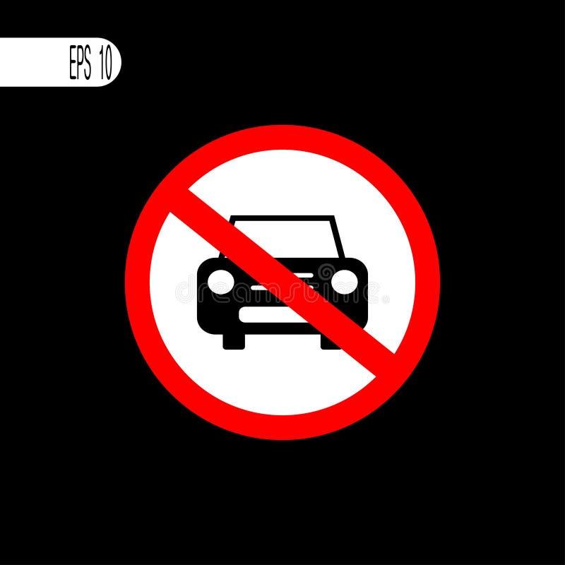 Ninguna muestra del coche Muestra prohibida que parquea, icono - ejemplo del vector stock de ilustración