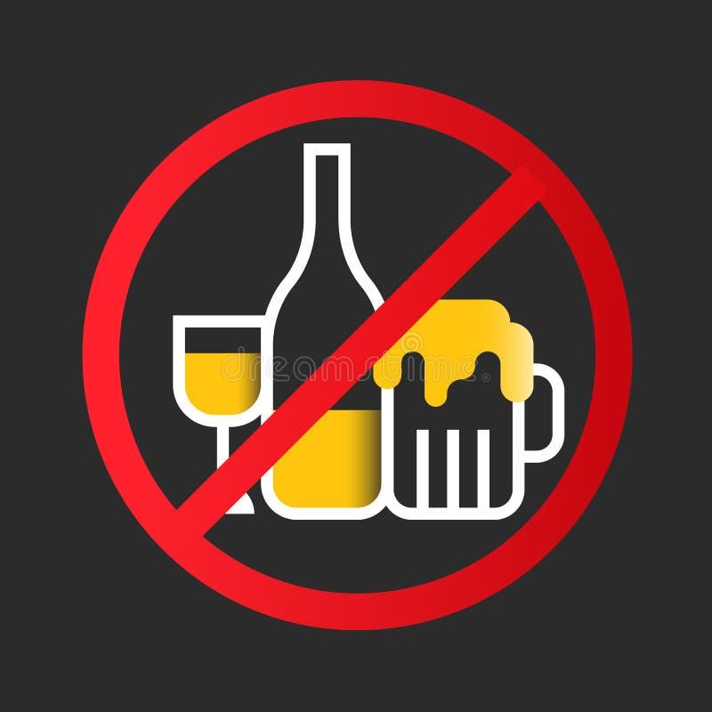 Ninguna muestra del icono del alcohol con la copa de vino amarilla blanca, botella del licor, vidrio de cerveza en diseño rojo de stock de ilustración
