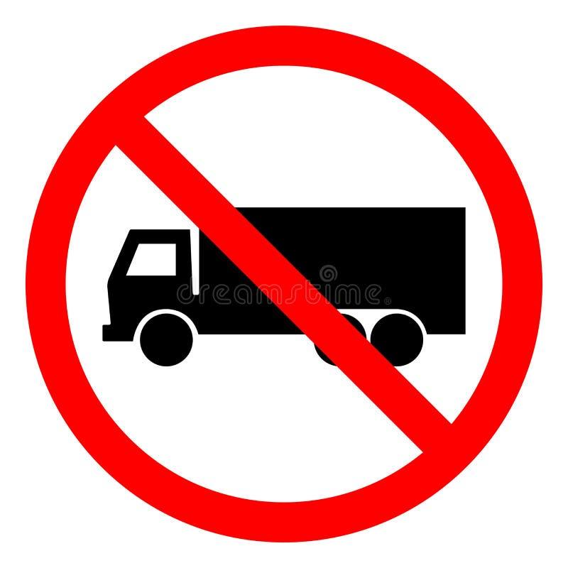 Ninguna muestra del símbolo del camión, ejemplo del vector, aislante en el icono blanco del fondo EPS10 stock de ilustración