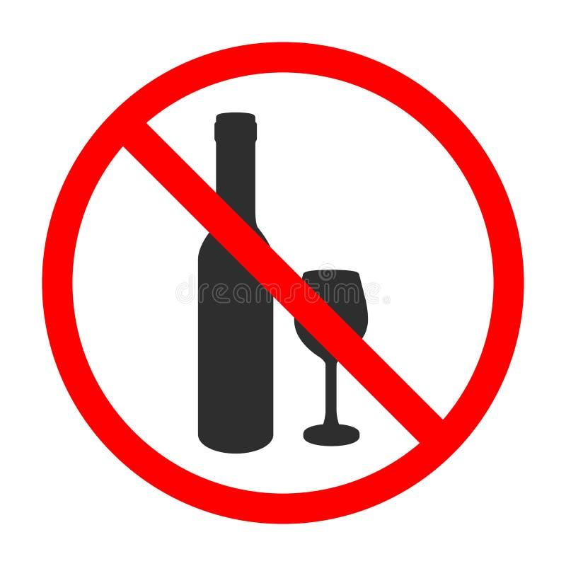 Ninguna muestra del vector del alcohol Color aislado del negro del ejemplo en el campo blanco No beba el vino stock de ilustración