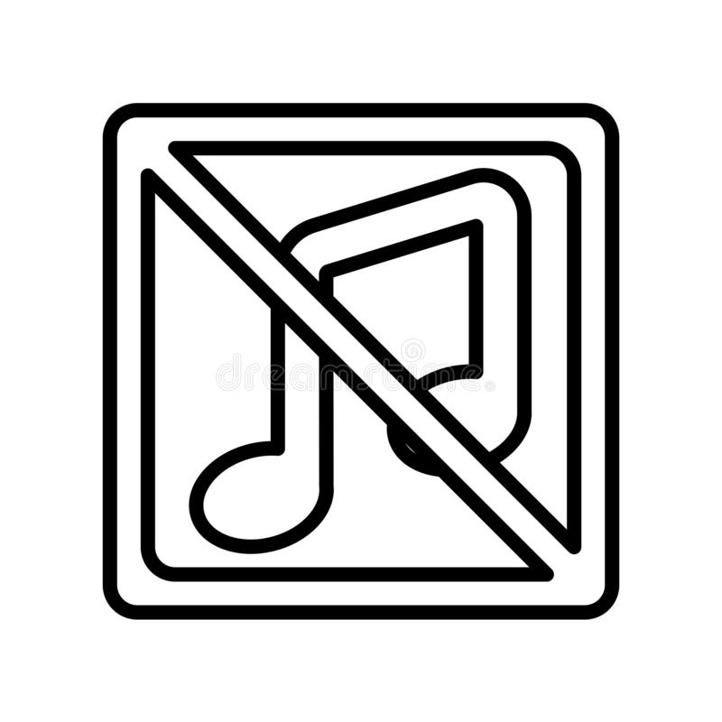 Ninguna muestra y símbolo del vector del icono de la música aislados en el backgroun blanco ilustración del vector