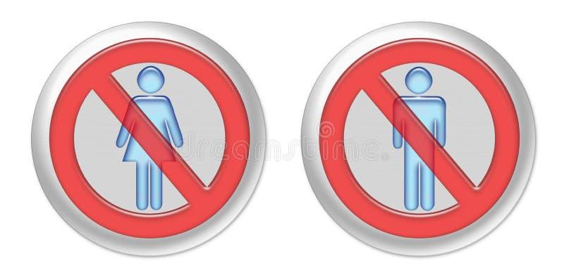 Ninguna mujer ningún botón del hombre ilustración del vector
