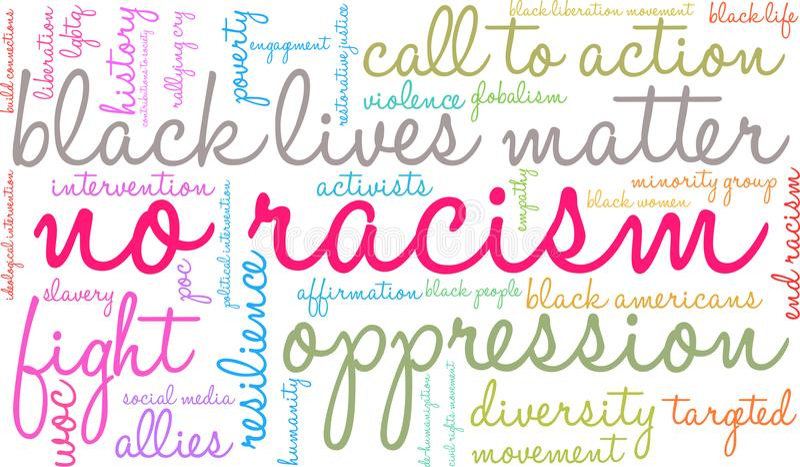 Ninguna nube de la palabra del racismo libre illustration