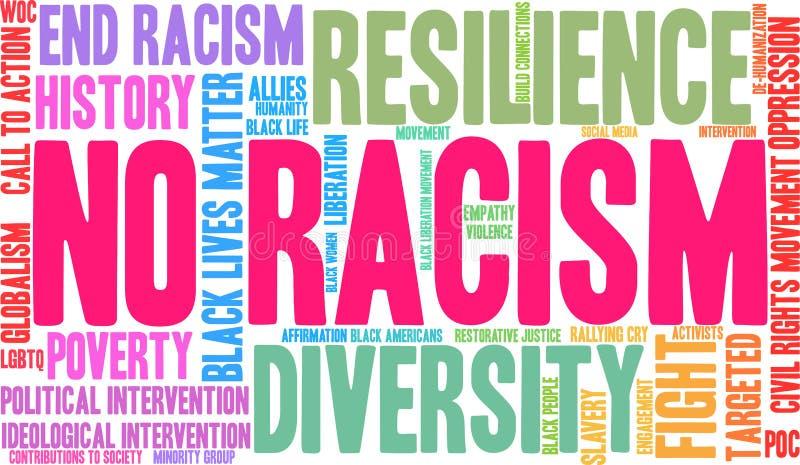 Ninguna nube de la palabra del racismo stock de ilustración