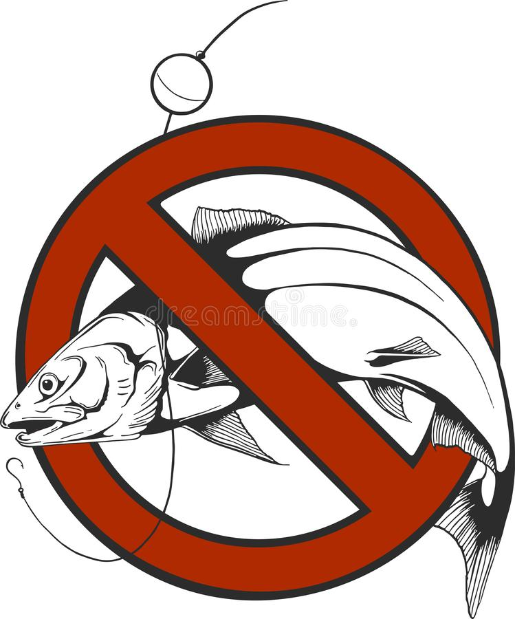 Ninguna pesca firma adentro vector de la forma del círculo stock de ilustración