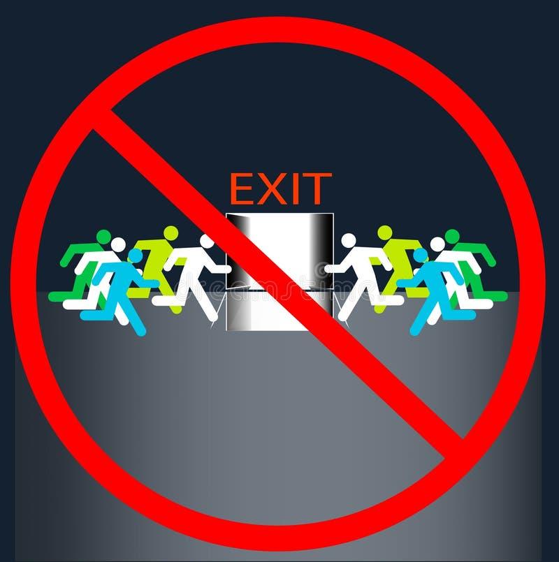 NINGUNA salida firma hacia fuera la puerta grupo de muchos seres humanos funcionado con al aislamiento del vector de la evacuació stock de ilustración