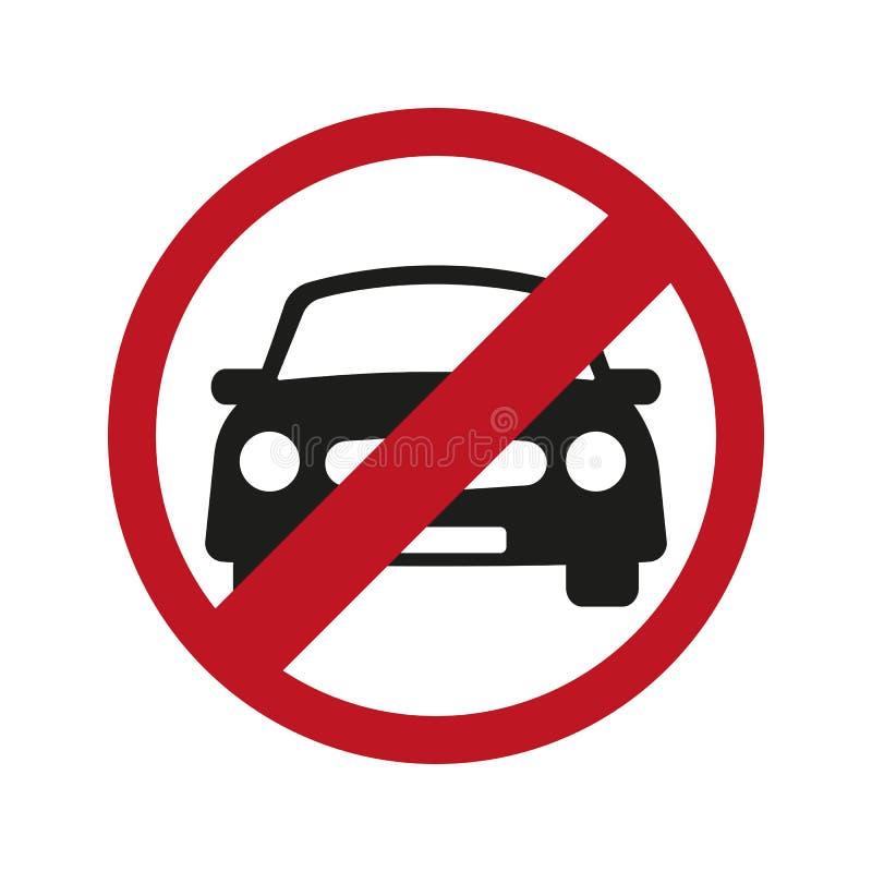 Ninguna señal de tráfico del coche o del estacionamiento prohibido, icono del vector ilustración del vector