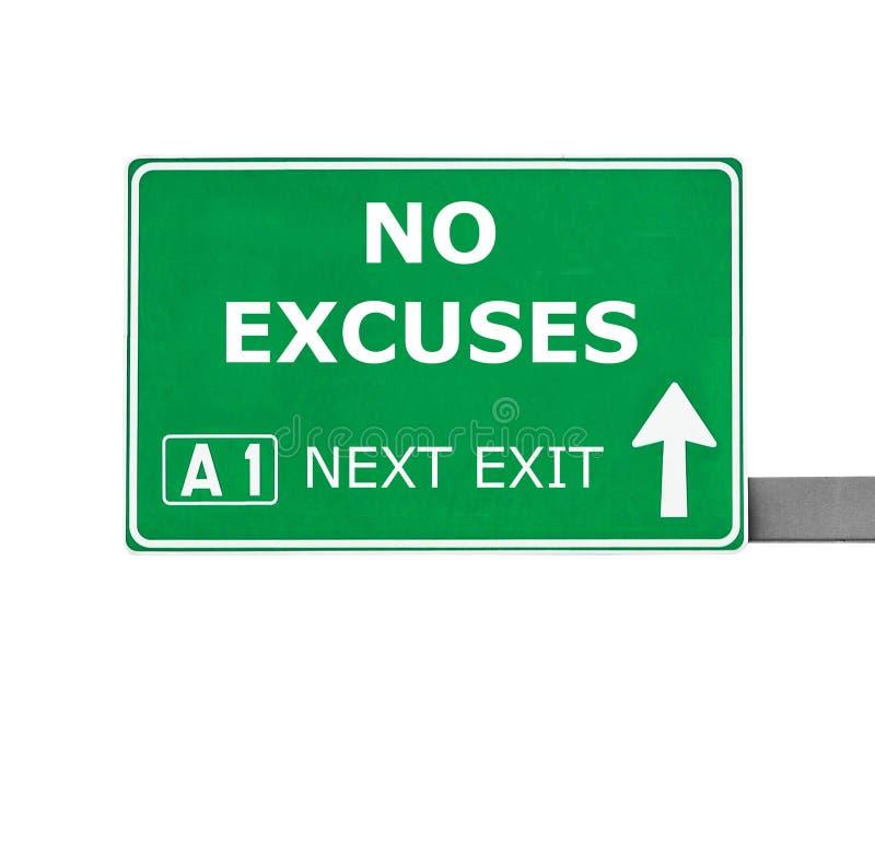 NINGUNA señal de tráfico de las EXCUSAS aislada en blanco imagen de archivo