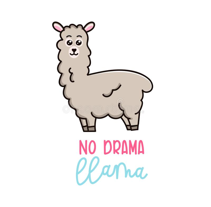 Ninguna tarjeta linda de la llama del drama con la llama de la historieta Ningún motiva del probLlama libre illustration