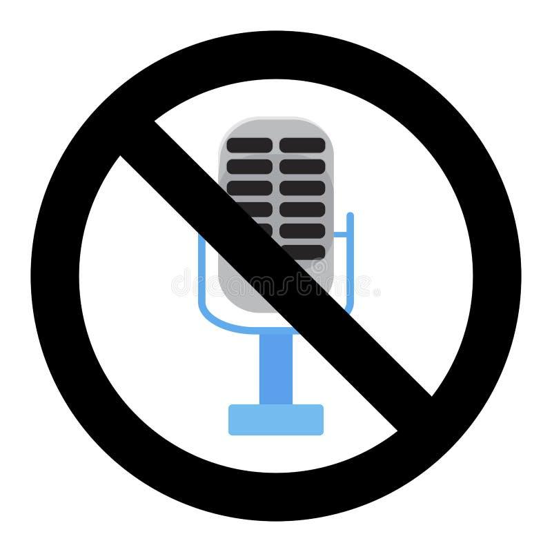 Ninguna voz en el micrófono, insignia del Karaoke de la prohibición stock de ilustración