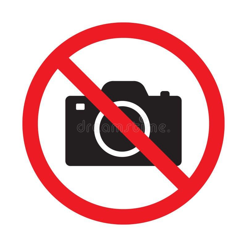 Ningunas cámaras no prohibidas la muestra Prohibición roja ninguna muestra de la cámara Ningunas imágenes que toman, ninguna mues ilustración del vector