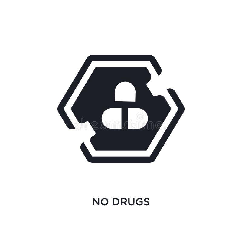 ningunas drogas aislaron el icono ejemplo simple del elemento de iconos del concepto de las muestras no diseño editable del símbo stock de ilustración