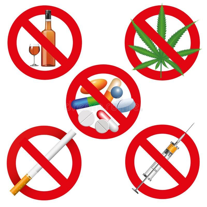 Ningunas drogas, fumar y alcohol stock de ilustración