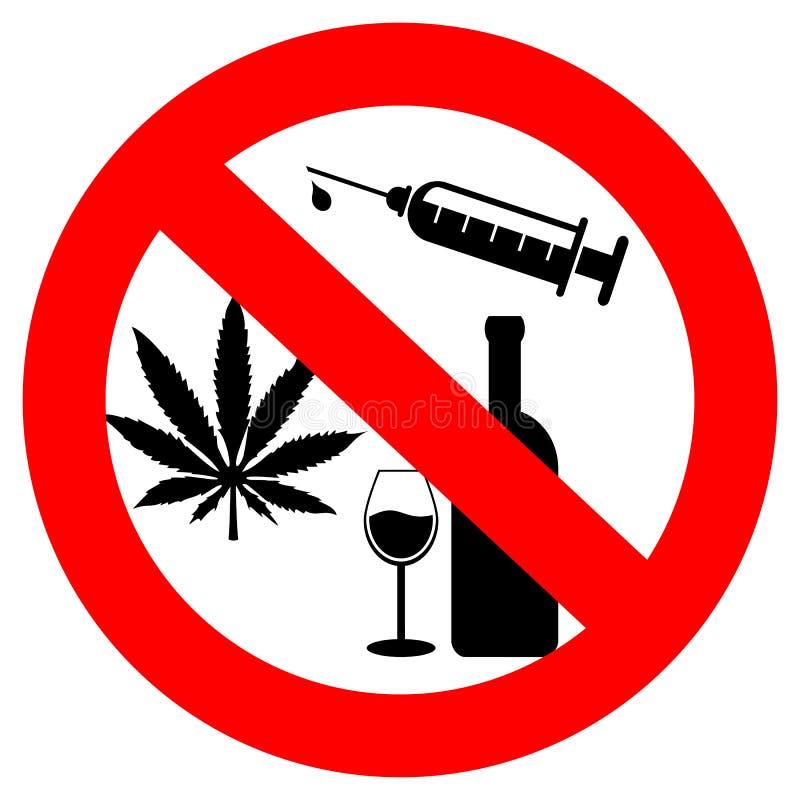 Ningunas drogas y alcohol ilustración del vector