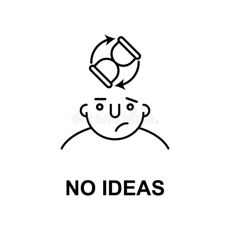 ningunas ideas en icono de la mente Elemento del icono de la mente humana para los apps móviles del concepto y del web La línea f stock de ilustración