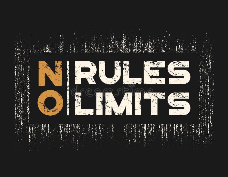 Ningunas reglas ningunos límites camiseta y ropa diseñan con efecto del grunge stock de ilustración