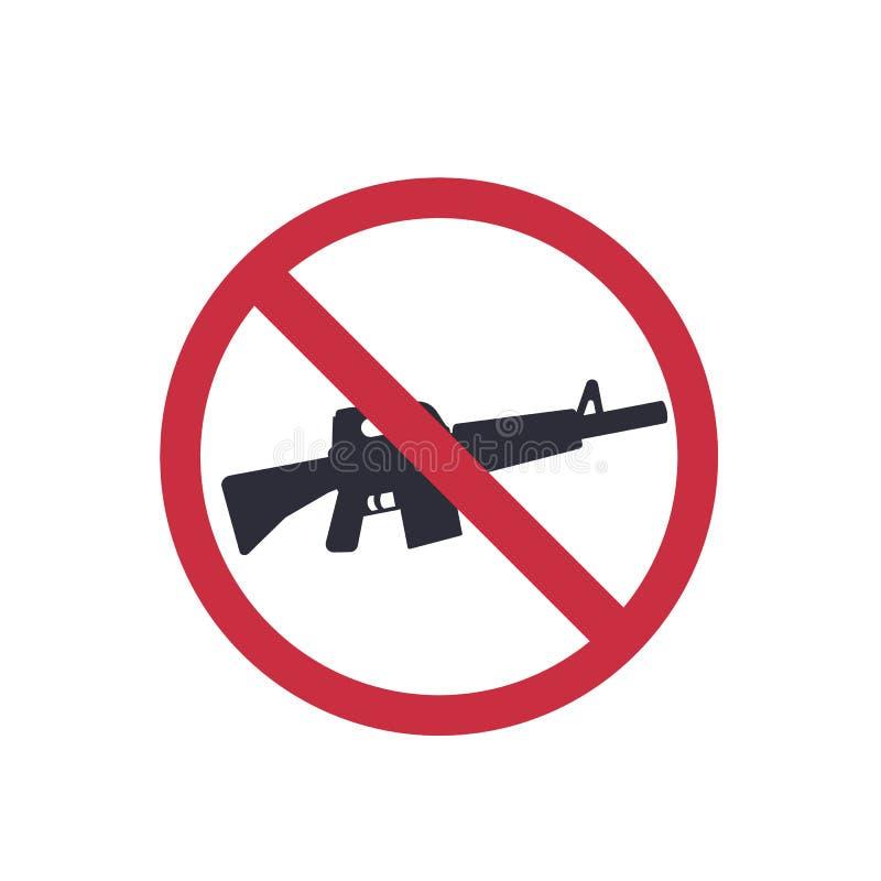 Ningunos armas firman con el rifle automático, etiqueta engomada del vector ilustración del vector