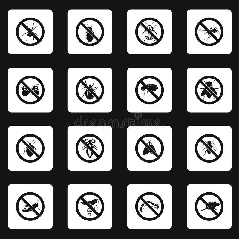 Ningunos iconos de la muestra de los insectos fijaron, estilo simple stock de ilustración