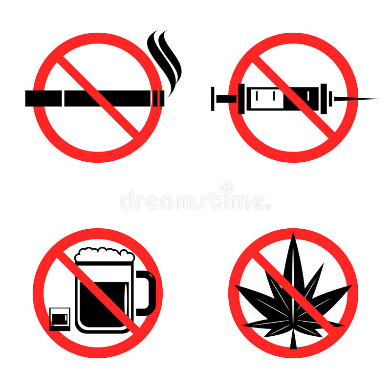 Ningunos iconos de las drogas fijados stock de ilustración