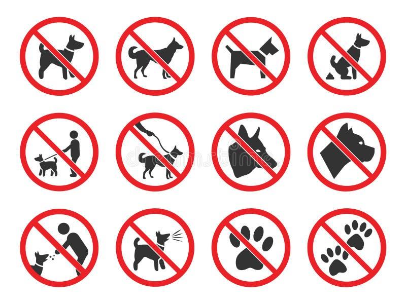 Ningunos perros firman, sistema de los iconos de la prohibición del perro ilustración del vector