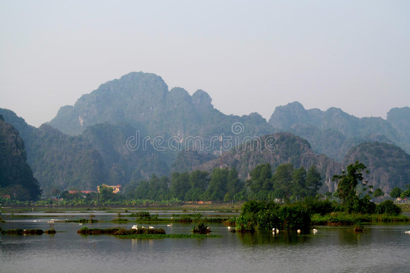 Ninh Bình limestone scenery. Ninh Bình province of Vietnam, in the Red River Delta region of the northern part of the country. Natural beauty sights stock photos