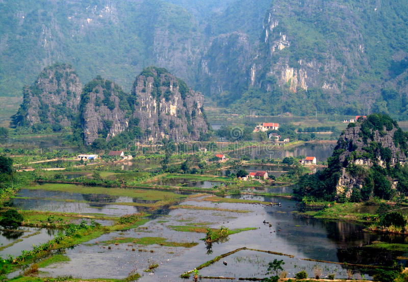 Ninh Bình limestone scenery. Ninh Bình province of Vietnam, in the Red River Delta region of the northern part of the country. Natural beauty sights royalty free stock photo