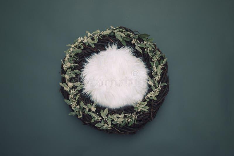 Ninho acolhedor da fantasia com fundamento macio e as flores brancas decorativas fotos de stock royalty free