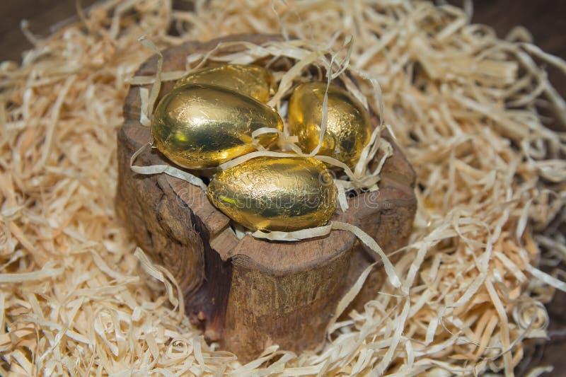 Ninho com ovos dourados foto de stock royalty free