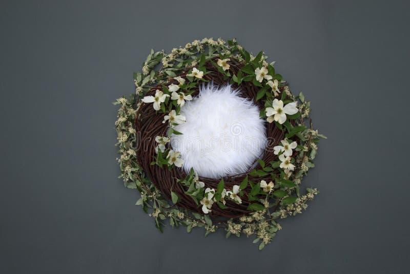 Ninho da fantasia com fundamento macio e flores brancas decorativas em g foto de stock