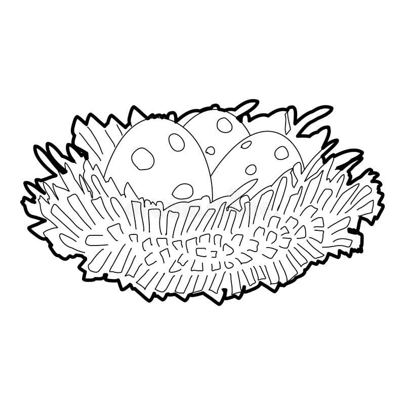 Ninho do pássaro com ícone dos ovos, estilo 3d isométrico ilustração stock