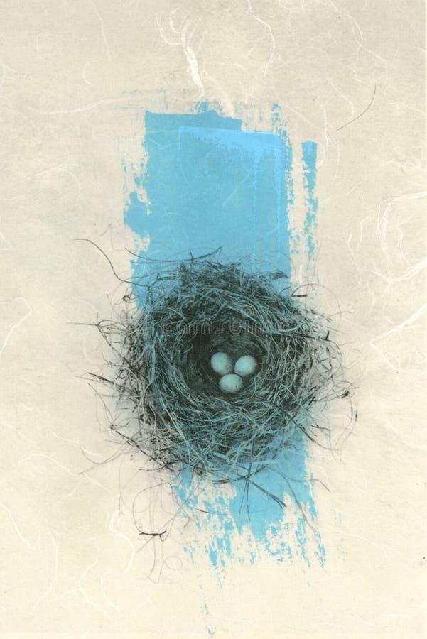 Ninho do pássaro com azul ilustração royalty free