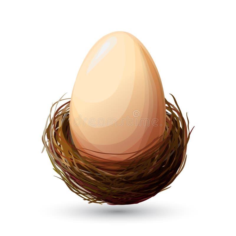 Ninho do pássaro com ovo ilustração royalty free