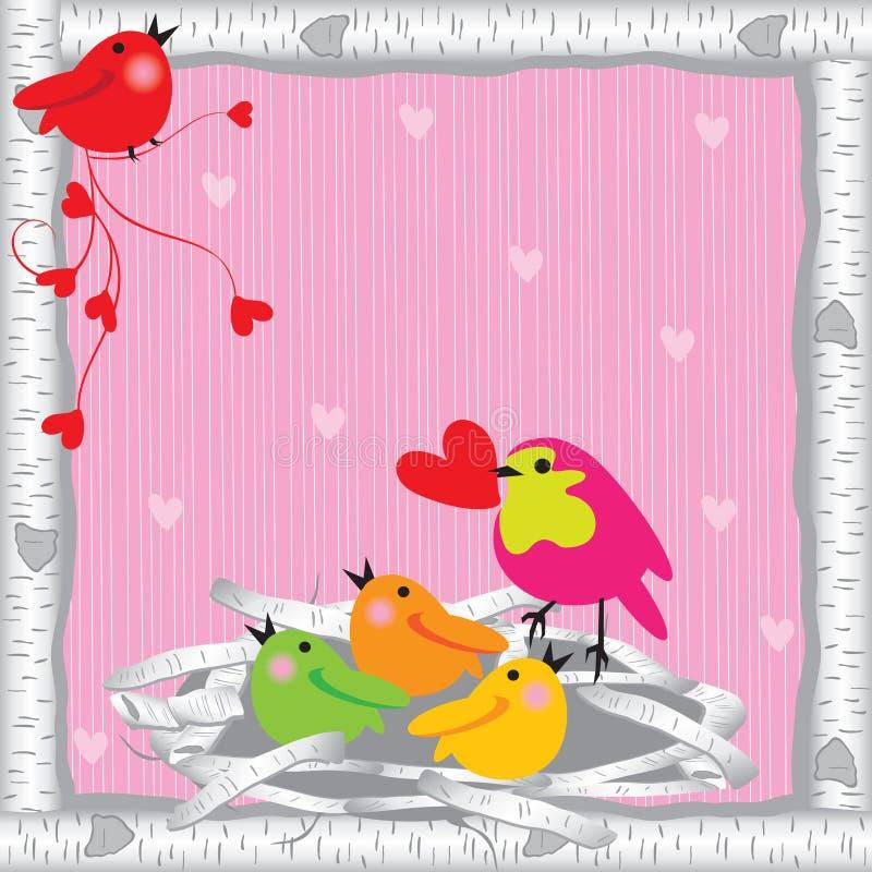 Ninho do pássaro do Valentim ilustração royalty free