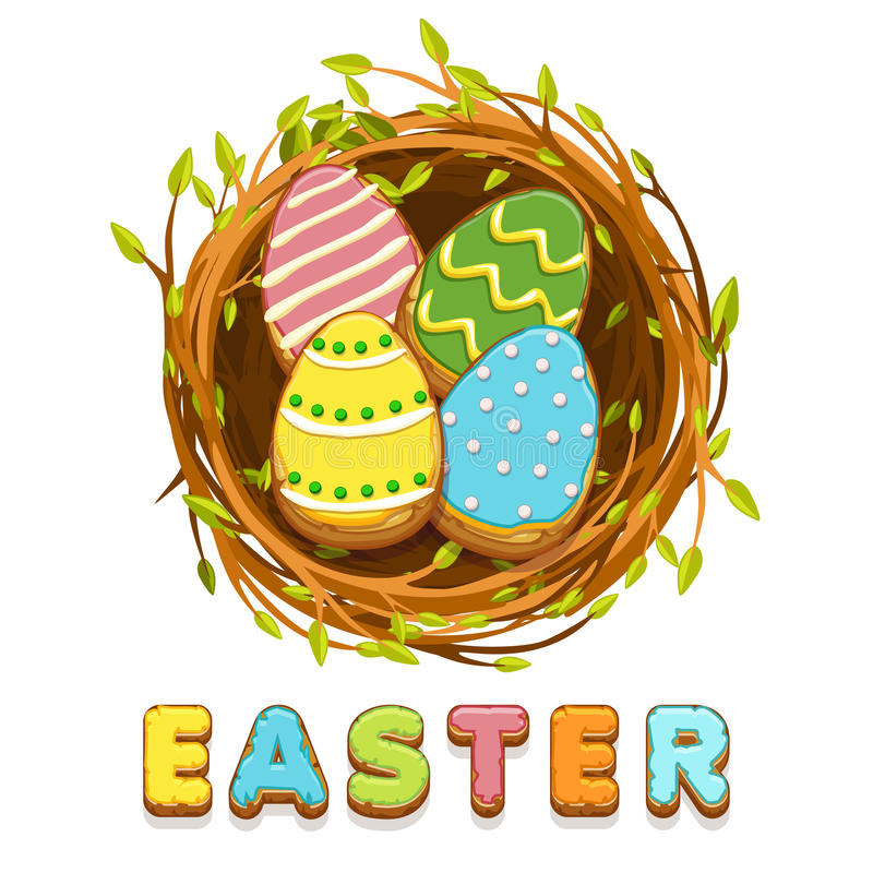 Ninho do pássaro e ovos coloridos das cookies do biskvit ilustração royalty free
