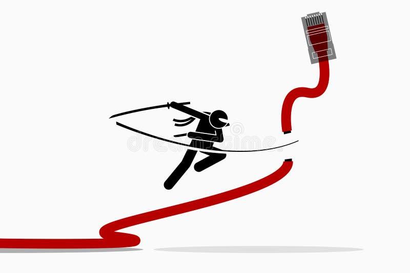 Ninja切开以太网LAN网络缆绳 向量例证