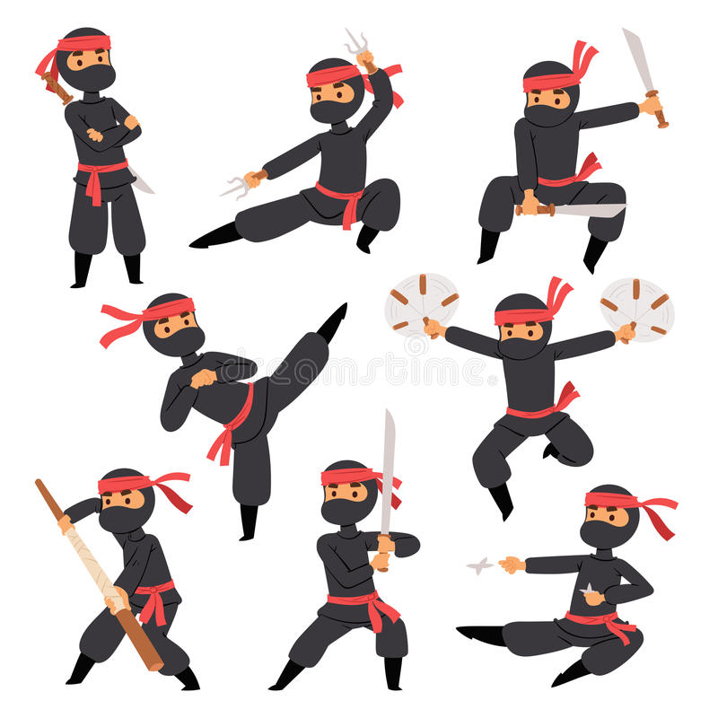 ninja战斗机不同的姿势在黑布料字符战士剑军事武器日本人和空手道动画片的 皇族释放例证