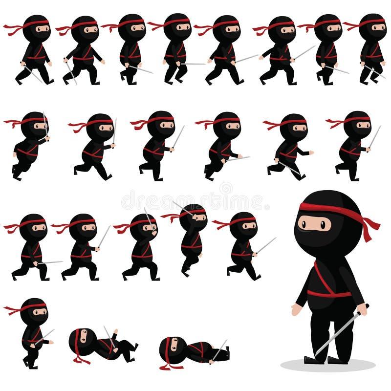 Ninja比赛的,动画字符魍魉 库存例证