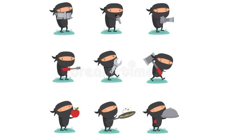 Ninja设置了7 皇族释放例证
