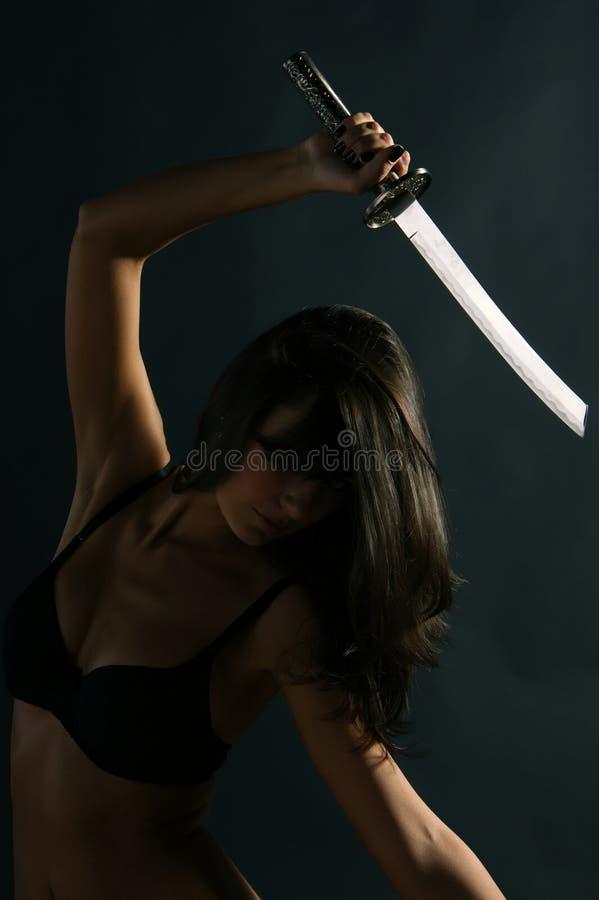 Download Ninja κοριτσιών στοκ εικόνες. εικόνα από σκοτάδι, πάλη - 17055510