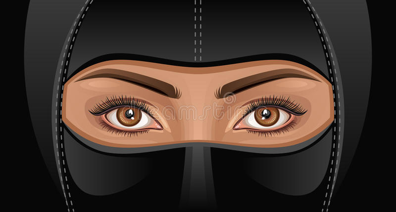Ninja. Eastern woman in a black mask royalty free illustration