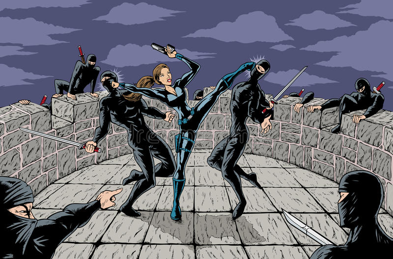 Ninja Attack. Secret agent girl defending against ninjas vector illustration