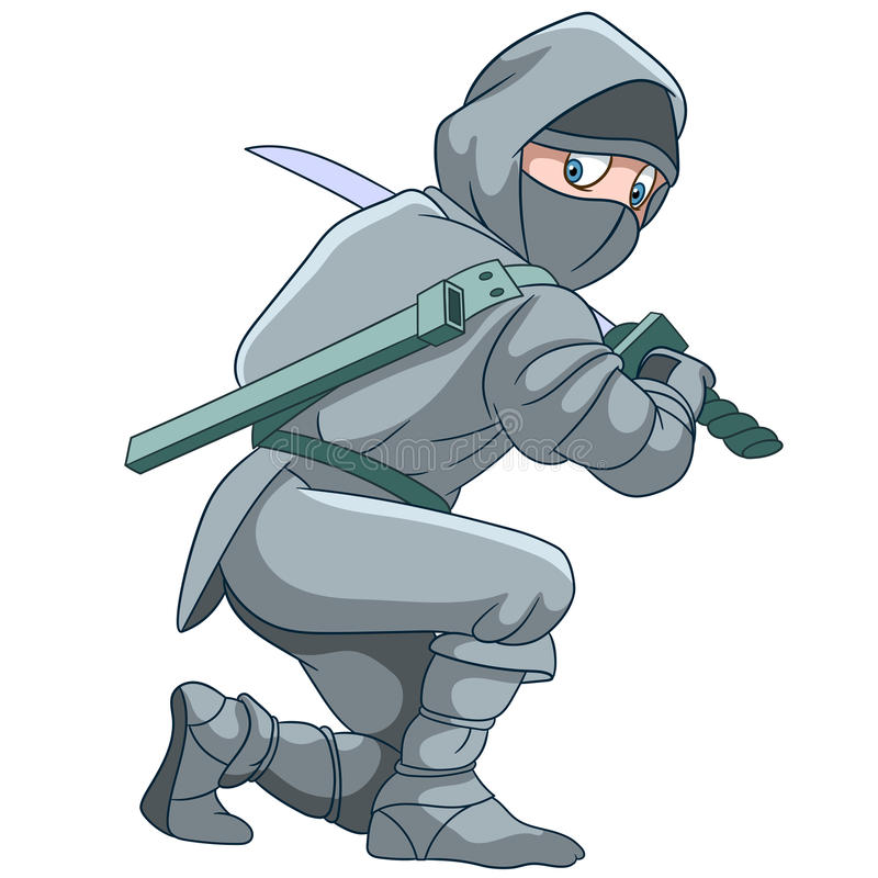 Ninja avec une épée illustration de vecteur