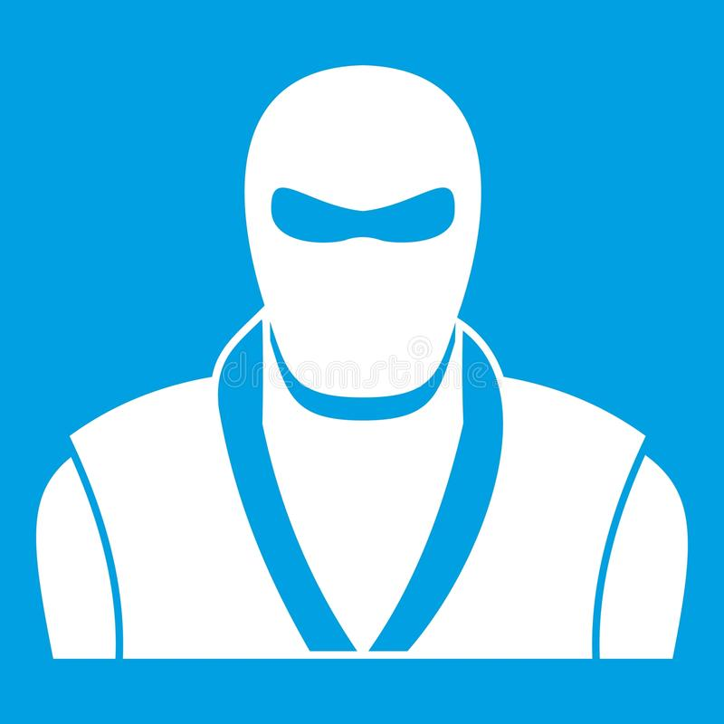 Ninja in black mask icon white vector illustration