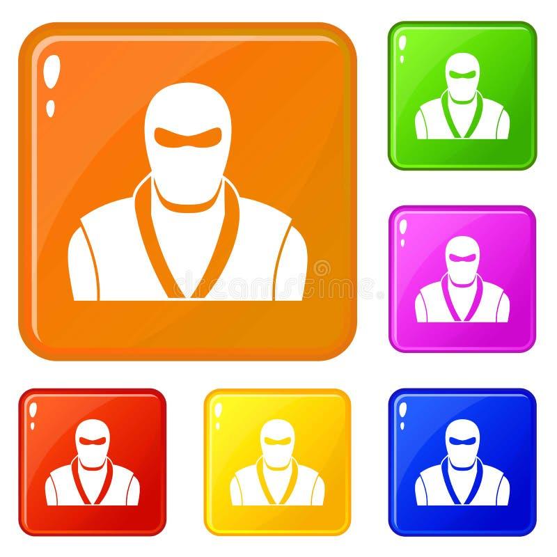 Ninja in black mask icons set vector color vector illustration