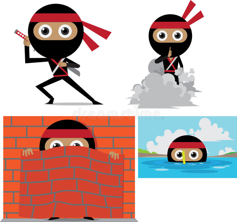 Ninja Cartoon royaltyfri illustrationer