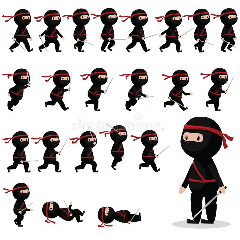 Ninja character sprites for games, animation. stock illustration