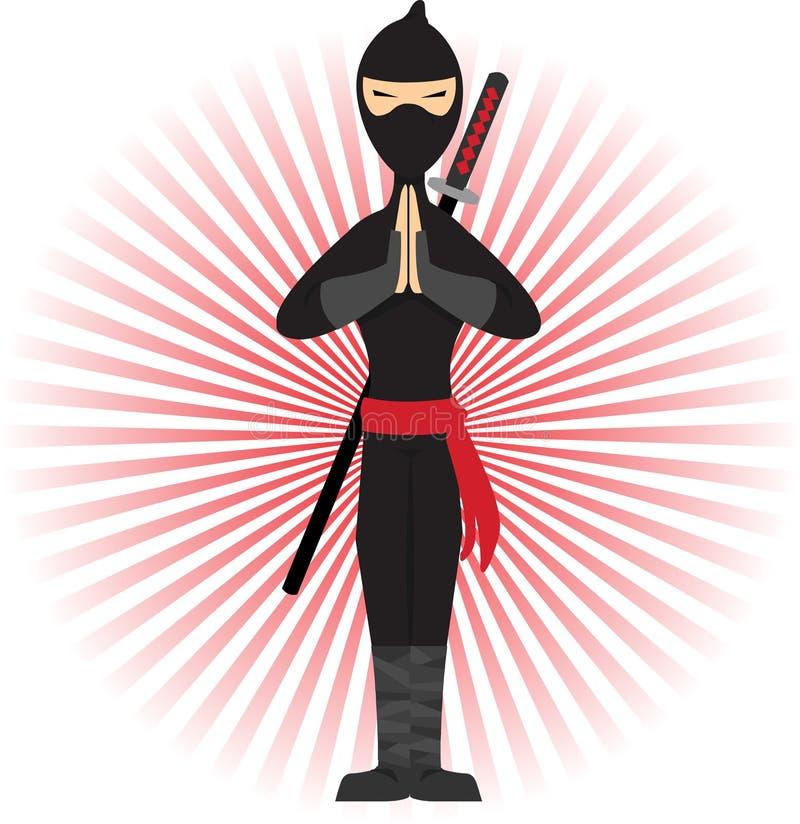 Ninja che si leva in piedi nella posa accentata dai raggi rossi illustrazione di stock